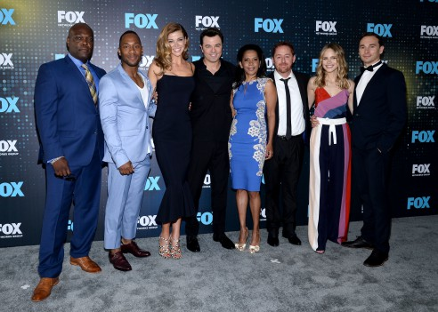 FOX 2017 PROGRAMMING PRESENTATION: (L-R) THE ORVILLE cast members Peter Macon, J. Lee, Adrianne Palicki, Seth MacFarlane, Penny Johnson Jerald, Scott Grimes, Sage Halston and Mark Jackson arrive at the FOX ALL-STAR PARTY on Monday, May 15 at Wollman Rink in Central Park, NY. ©2017 FOX BROADCASTING CR: Anthony Behar/FOX.