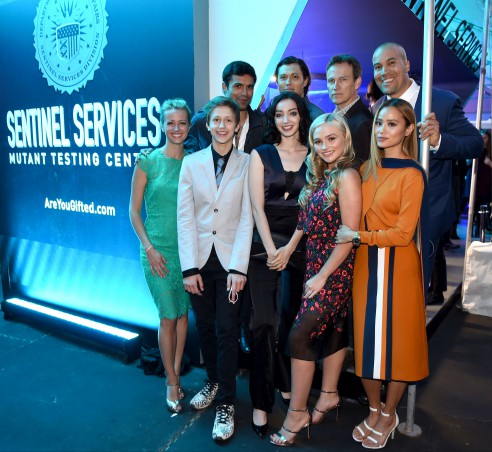 FOX 2017 PROGRAMMING PRESENTATION: L-R: THE GIFTED cast members Amy Acker, Percy Hynes White, Sean Teale, Emma Dumont, Blair Redford, Natalie Alyn Lind, Stephen Moyer, Jamie Chung and Coby Bell celebrate at the FOX ALL-STAR PARTY on Monday, May 15 at Wollman Rink in Central Park, NY. ©2017 FOX BROADCASTING CR: Frank Micelotta/FOX.