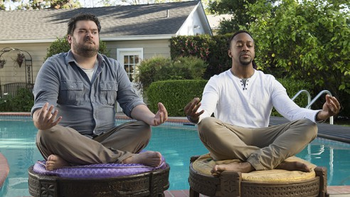 ME, MYSELF & I stars Bobby Moynihan (left) in a comedy about the defining moments in one man's life over three distinct periods – as 14-year-old Alex in 1991, Alex at age 40 in present day (Moynihan) and Alex at age 65 in 2042.  Jaleel White (right) plays Alex's best friend and business partner, Darryl, in present day. ME, MYSELF & I will be broadcast in the 2017-2018 season on the CBS Television Network. Photo: Neil Jacobs/CBS ©2016 CBS Broadcasting, Inc. All Rights Reserved