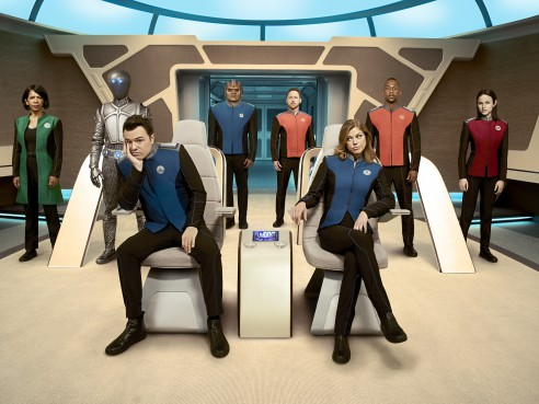 THE ORVILLE:  L-R:  Penny Johnson Jerald, Mark Jackson, Seth MacFarlane, Peter Macon, Scott Grimes, Adrianne Palicki, J. Lee and Halston Sage in THE ORVILLE premiering this fall on FOX.  ©2017 Fox Broadcasting Co.  Cr:  Noah Schutz/FOX