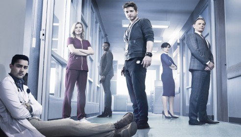 THE RESIDENT:  L-R: Manish Dayal, Emily VanCamp, Shaunette RenŽe Wilson, Matt Czuchry, Valerie Cruz and Bruce Greenwood in THE RESIDENT premiering midseason on FOX.  ©2017 Fox Broadcasting Co.  Cr:  Justin Stephens/FOX